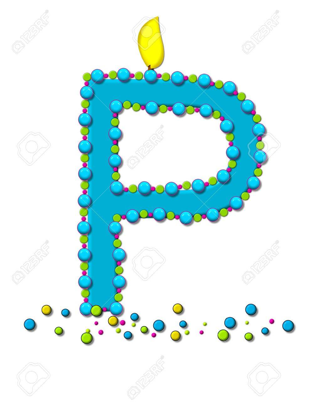 stock photo the letter p in the alphabet set birthday cake candle is aqua and outlined in fun colored sprinkles flame burns from top of letter