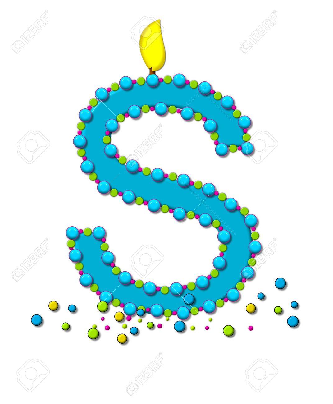 The Letter S In Alphabet Set Birthday Cake Candle Is Aqua