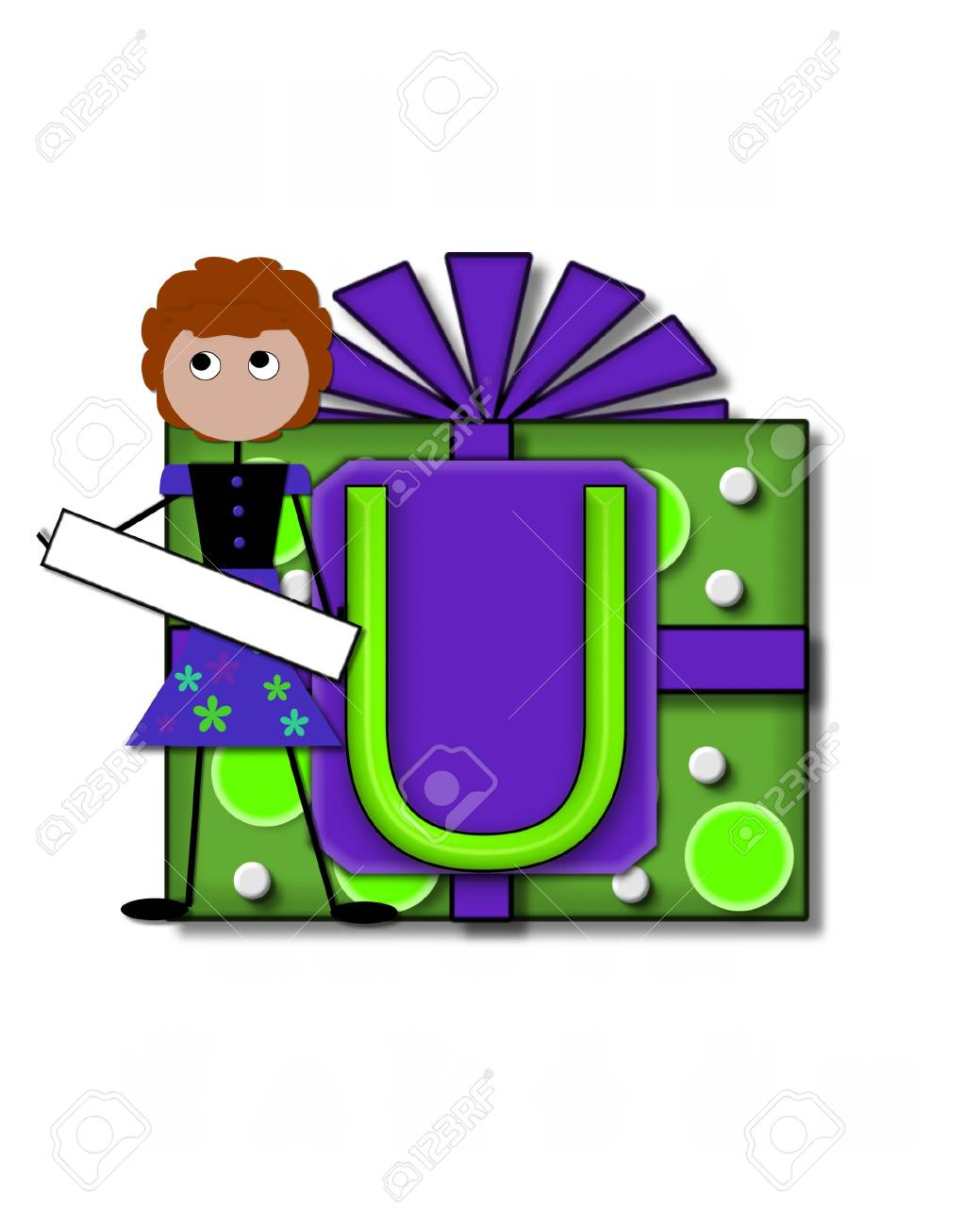 The letter U, in the alphabet set All Occasion labels the front of a gift box complete with bow.  A stick figure stands besides gift box holding a blank sign to be labeled with your special occasion. Stock Photo - 16320613