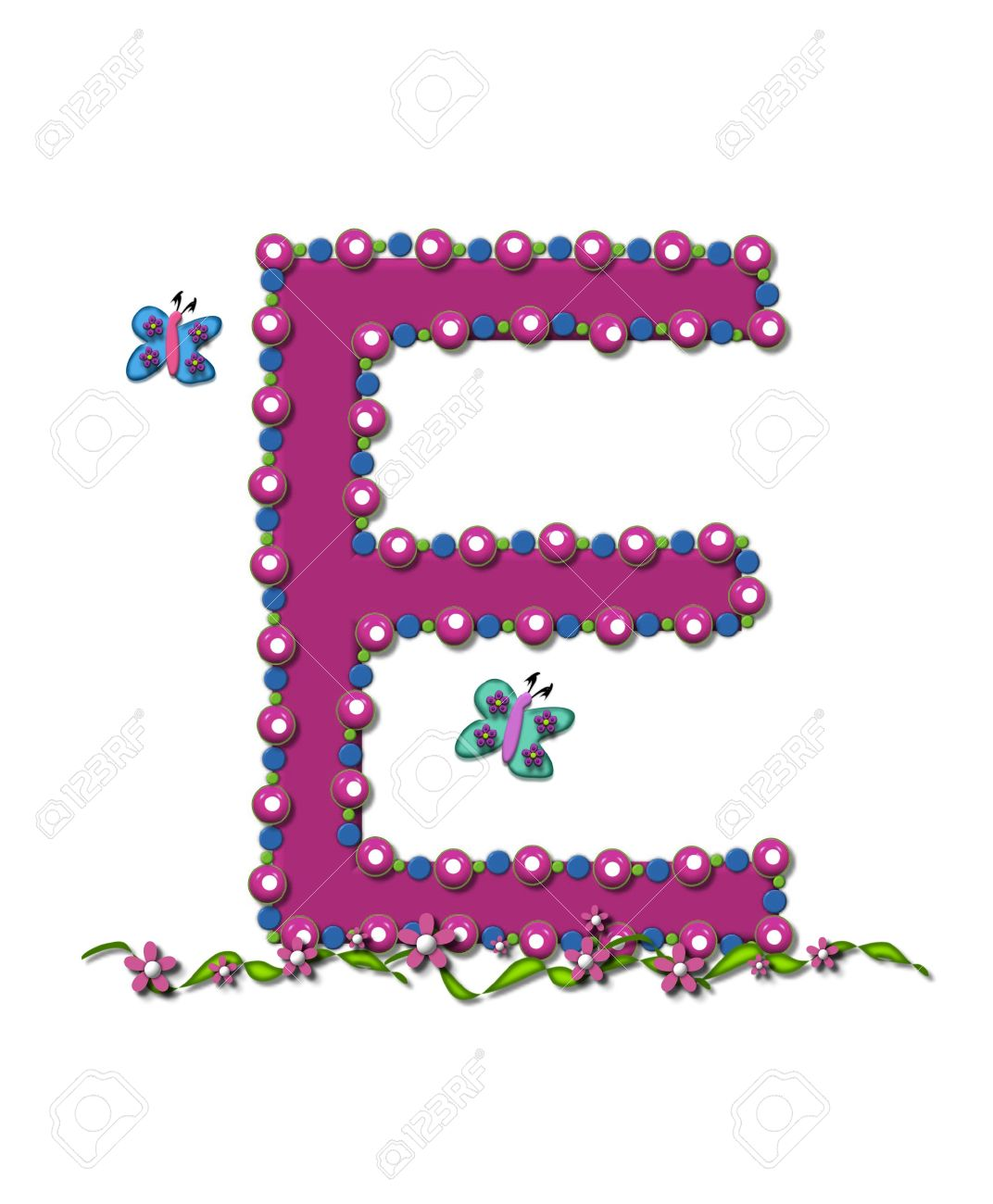 Letter E From Bead Alphabet Is Deep Rose In Color. Letter Is.. Stock ...