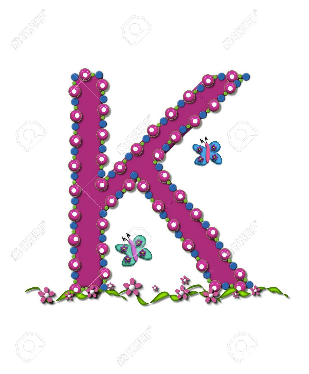 Letter K From Bead Alphabet Is Deep Rose In Color. Letter Is.. Stock ...