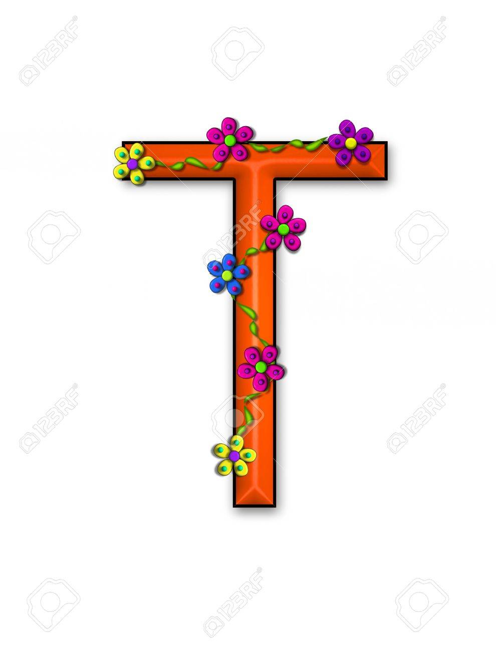 The letter T, in the alphabet set Bursting Blooms, is an orange letter.  Flowers, vines and daisies twine around 3D letter in vibrant and fun colors. Stock Photo - 16320702