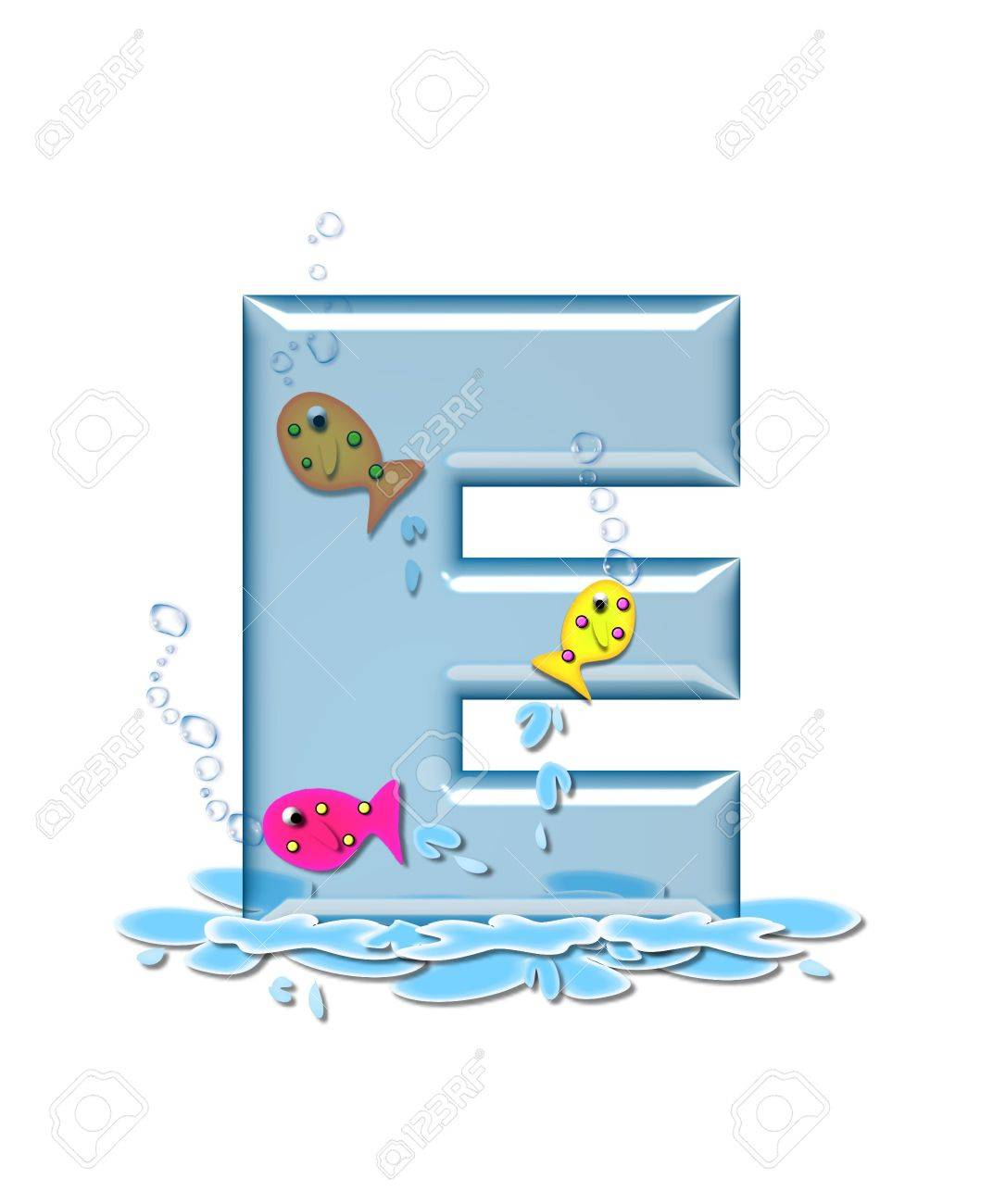 stock photo the letter e in the alphabet set fish flop is aqua in color and transparent you can see fish swimming behind letter and in front