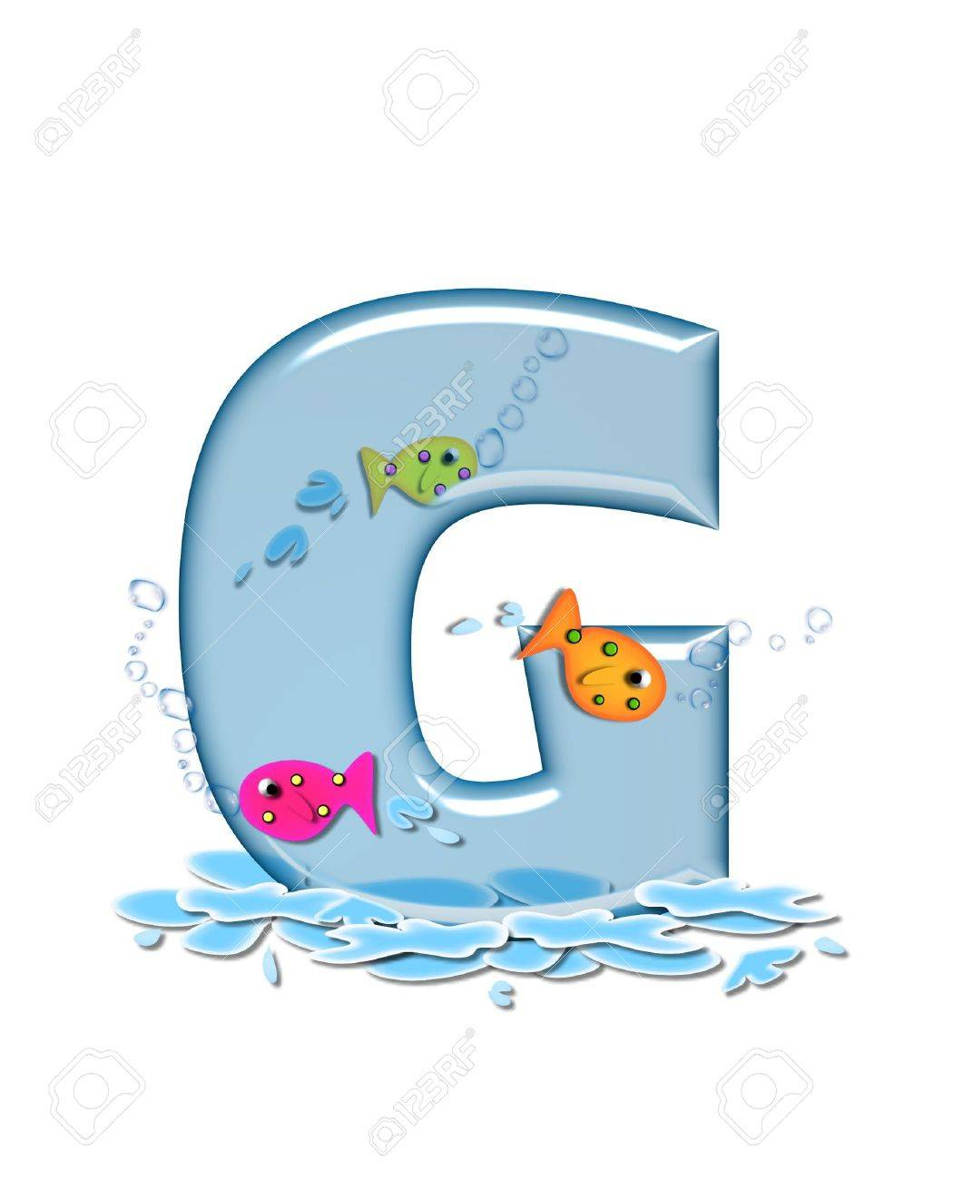 The letter g in the alphabet set fish flop is aqua in color stock photo the letter g in the alphabet set fish flop is aqua in color and transparent you can see fish swimming behind letter and in front water altavistaventures Images