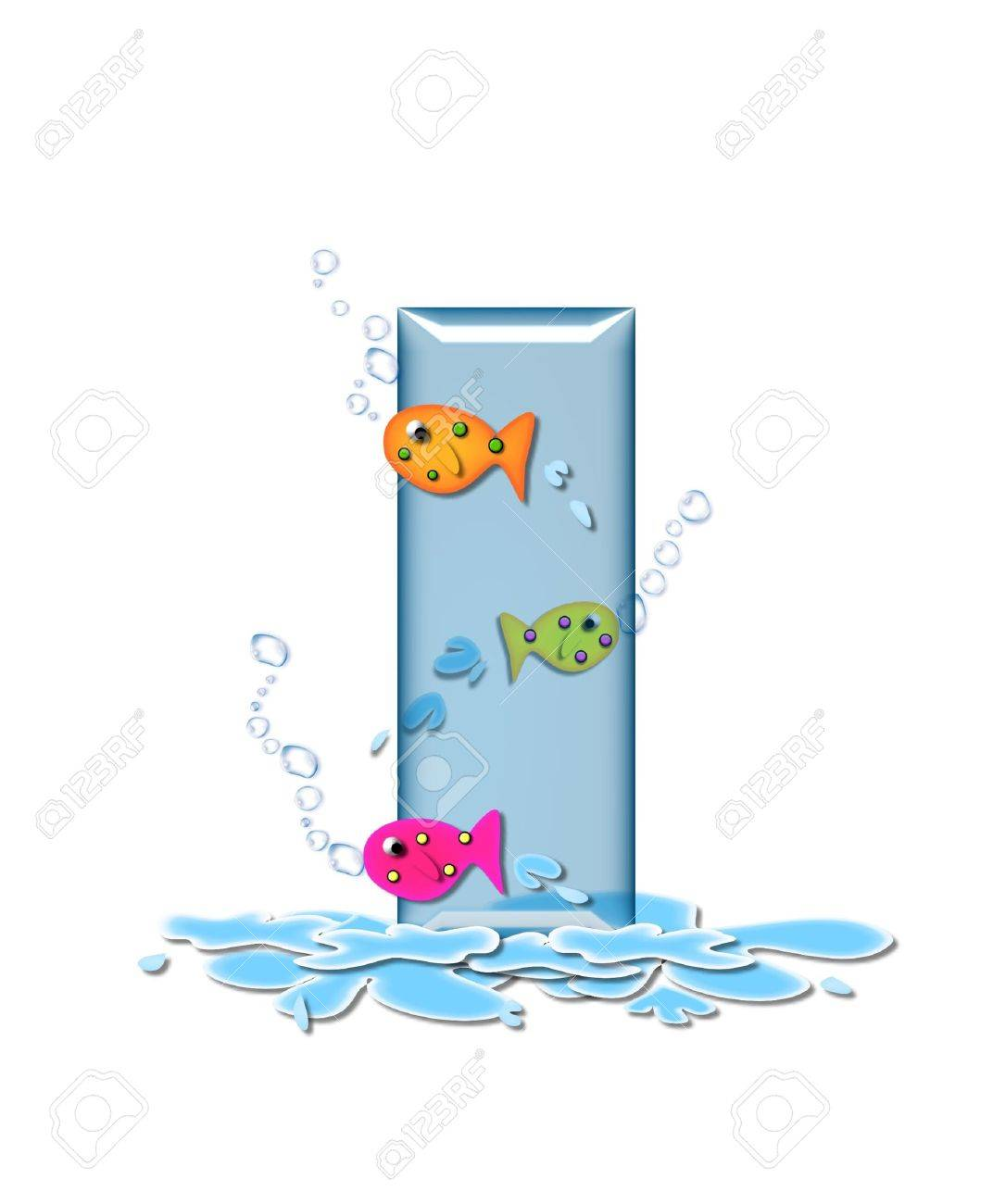 stock photo the letter i in the alphabet set fish flop is aqua in color and transparent you can see fish swimming behind letter and in front