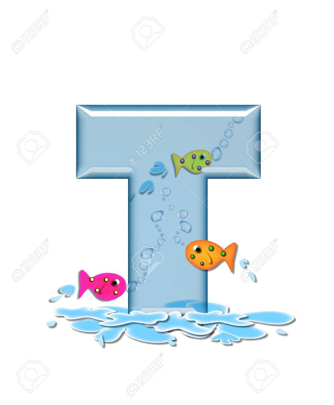 stock photo the letter t in the alphabet set fish flop is aqua in color and transparent you can see fish swimming behind letter and in front