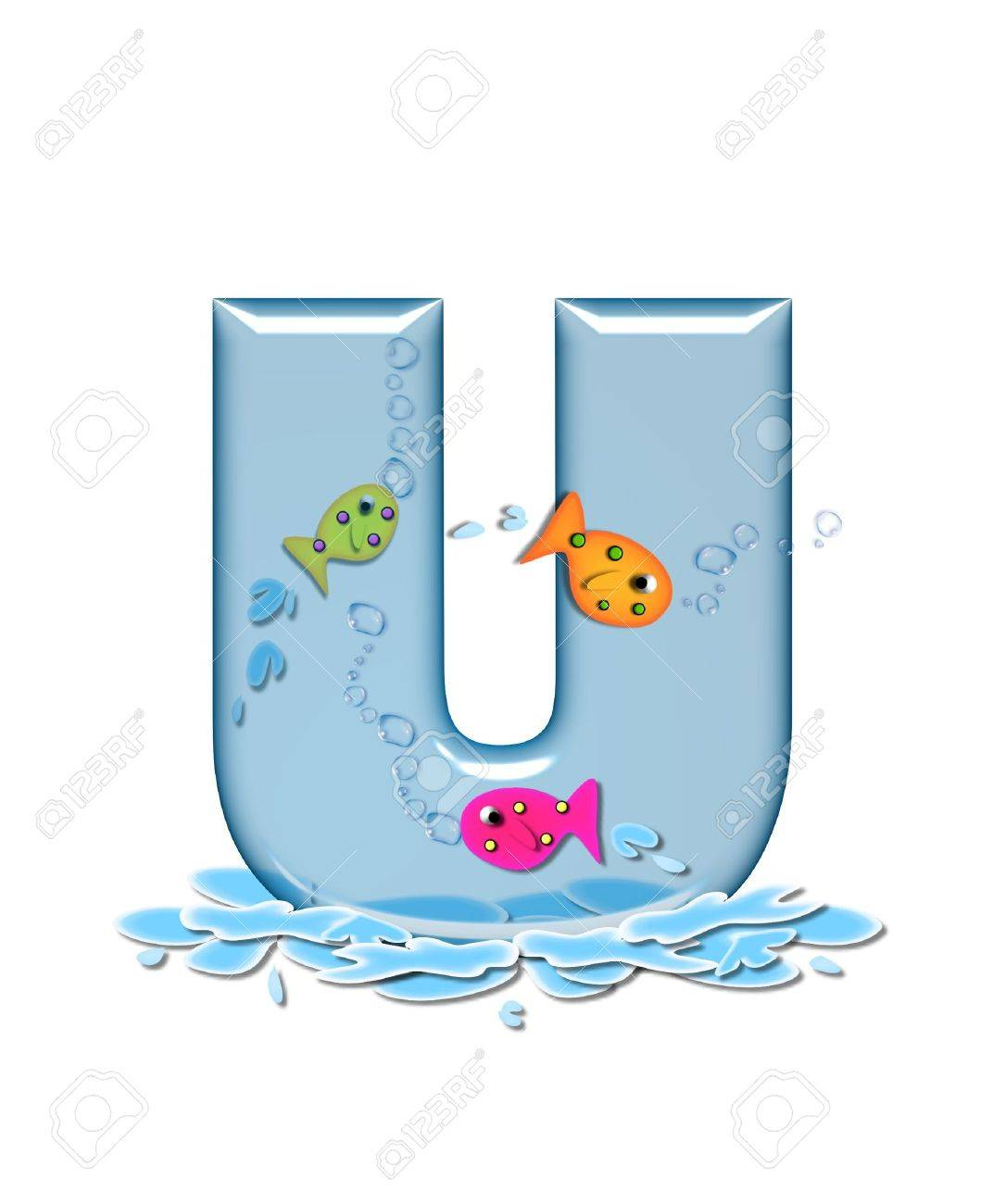 stock photo the letter u in the alphabet set fish flop is aqua in color and transparent you can see fish swimming behind letter and in front