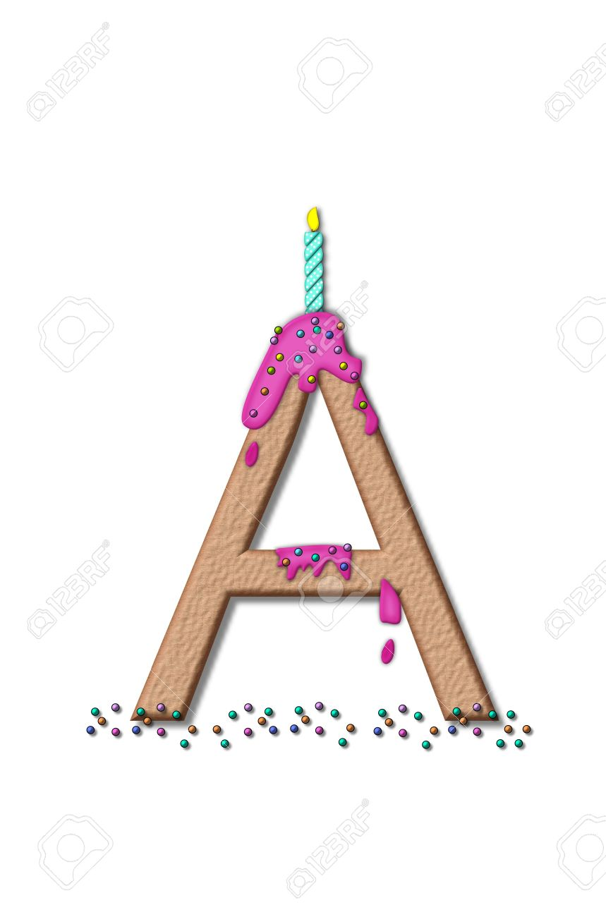 stock photo the letter a from the alphabet set happy birthday is tan with cake like textured fill letter is iced with pink frosting and sprinkled with