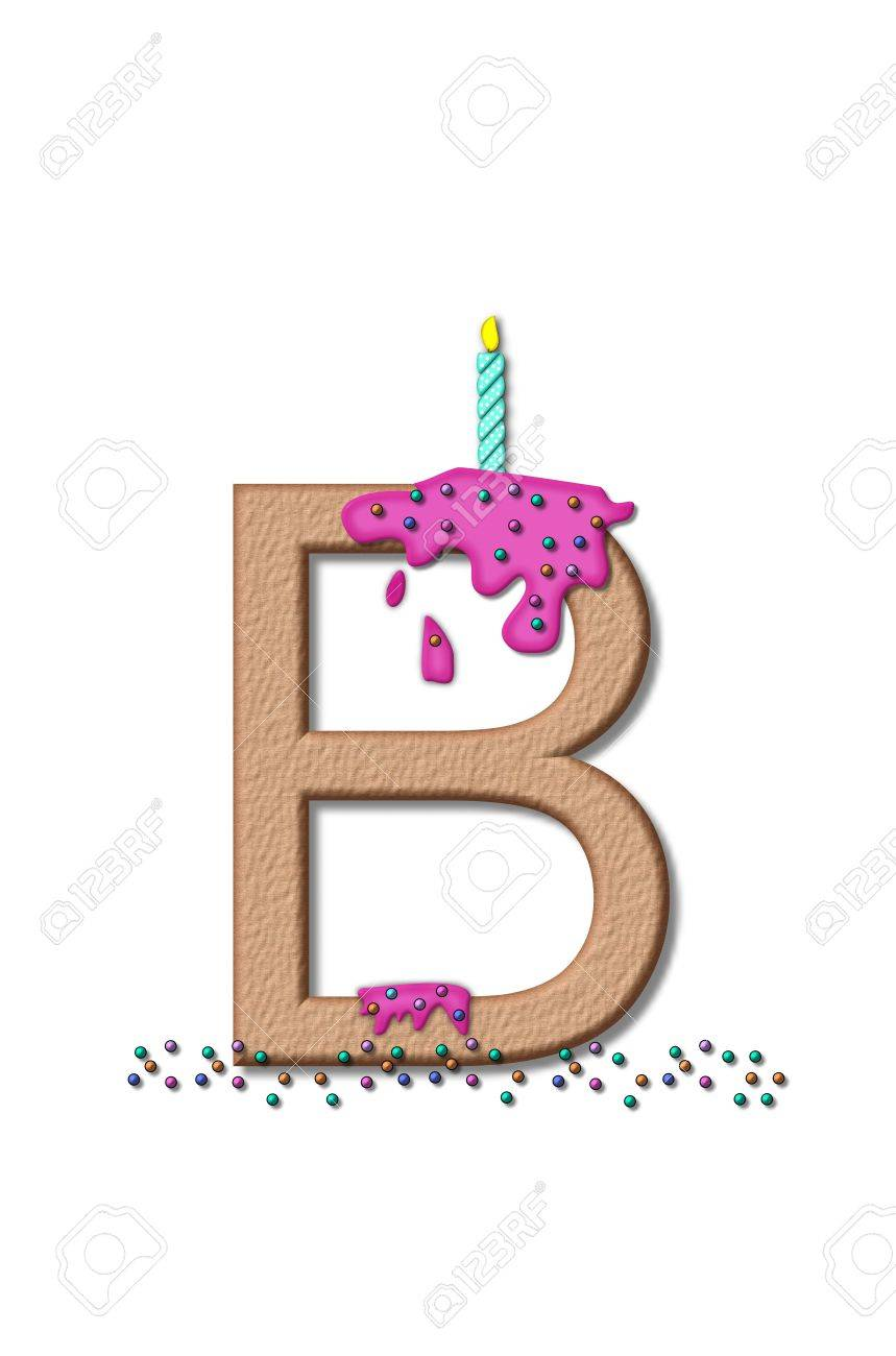 stock photo the letter b from the alphabet set happy birthday is tan with cake like textured fill letter is iced with pink frosting and sprinkled with