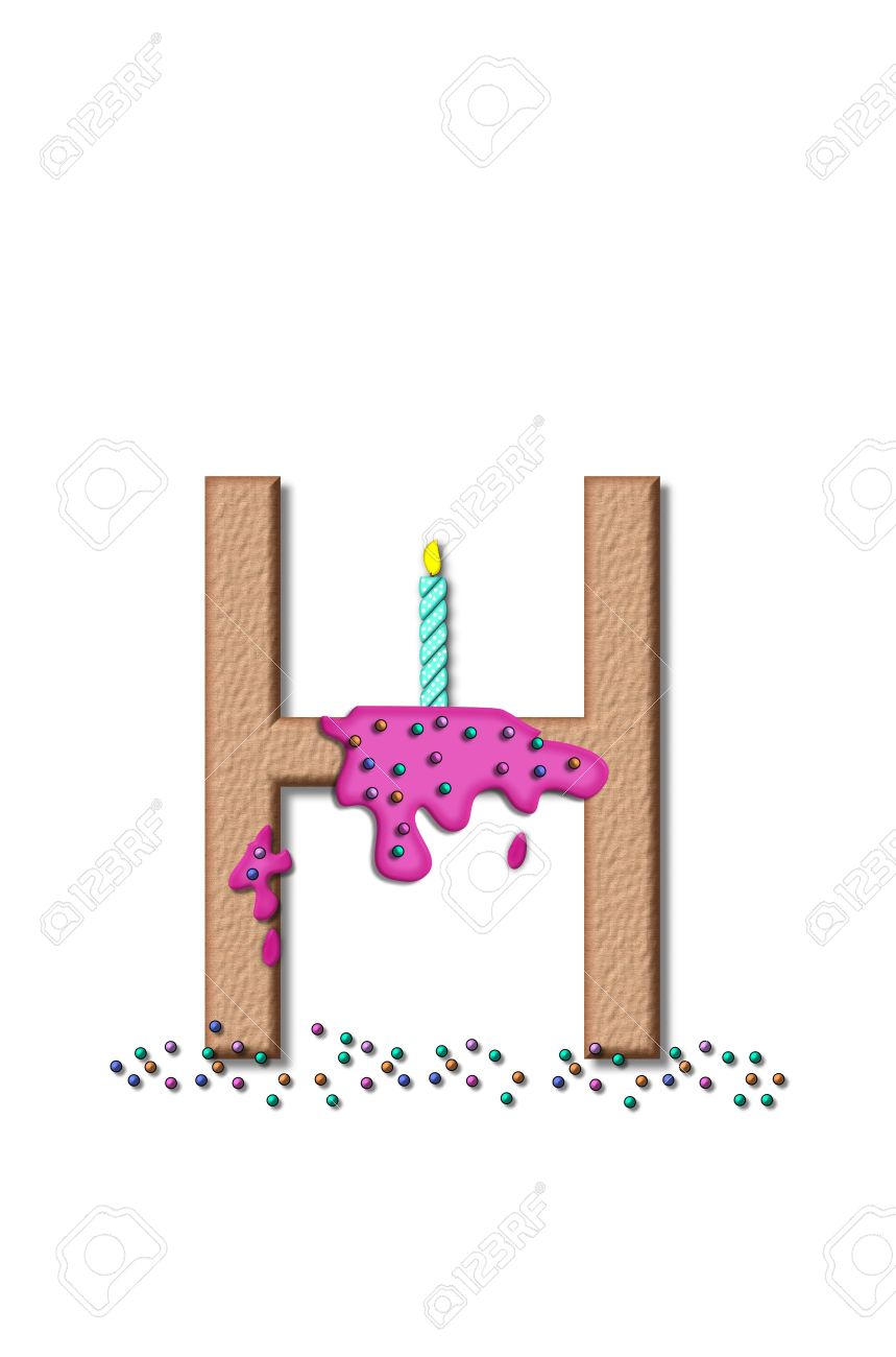 stock photo the letter h from the alphabet set happy birthday is tan with cake like textured fill letter is iced with pink frosting and sprinkled with