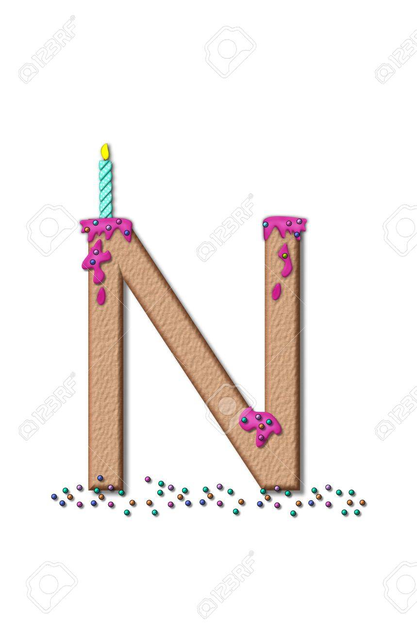 stock photo the letter n from the alphabet set happy birthday is tan with cake like textured fill letter is iced with pink frosting and sprinkled with