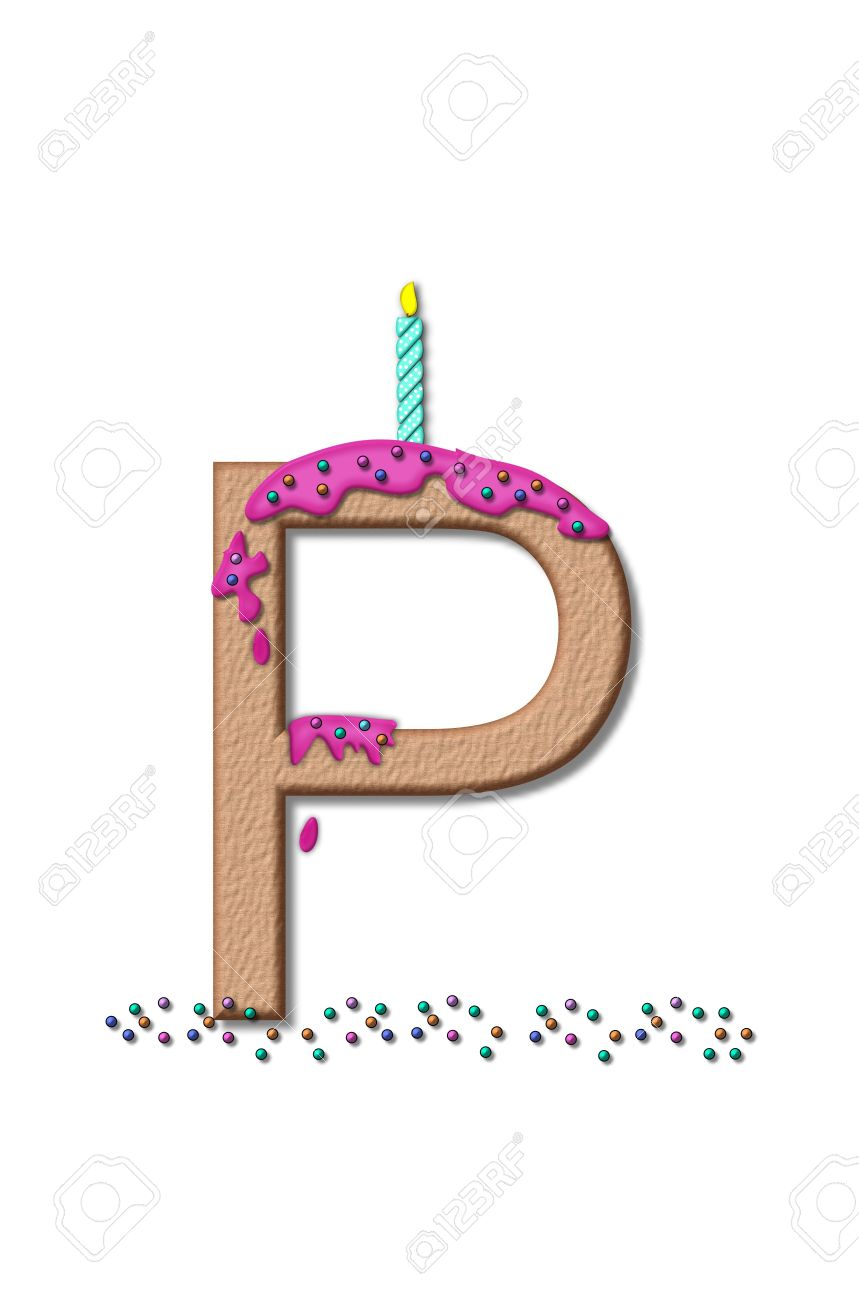 stock photo the letter p from the alphabet set happy birthday is tan with cake like textured fill letter is iced with pink frosting and sprinkled with