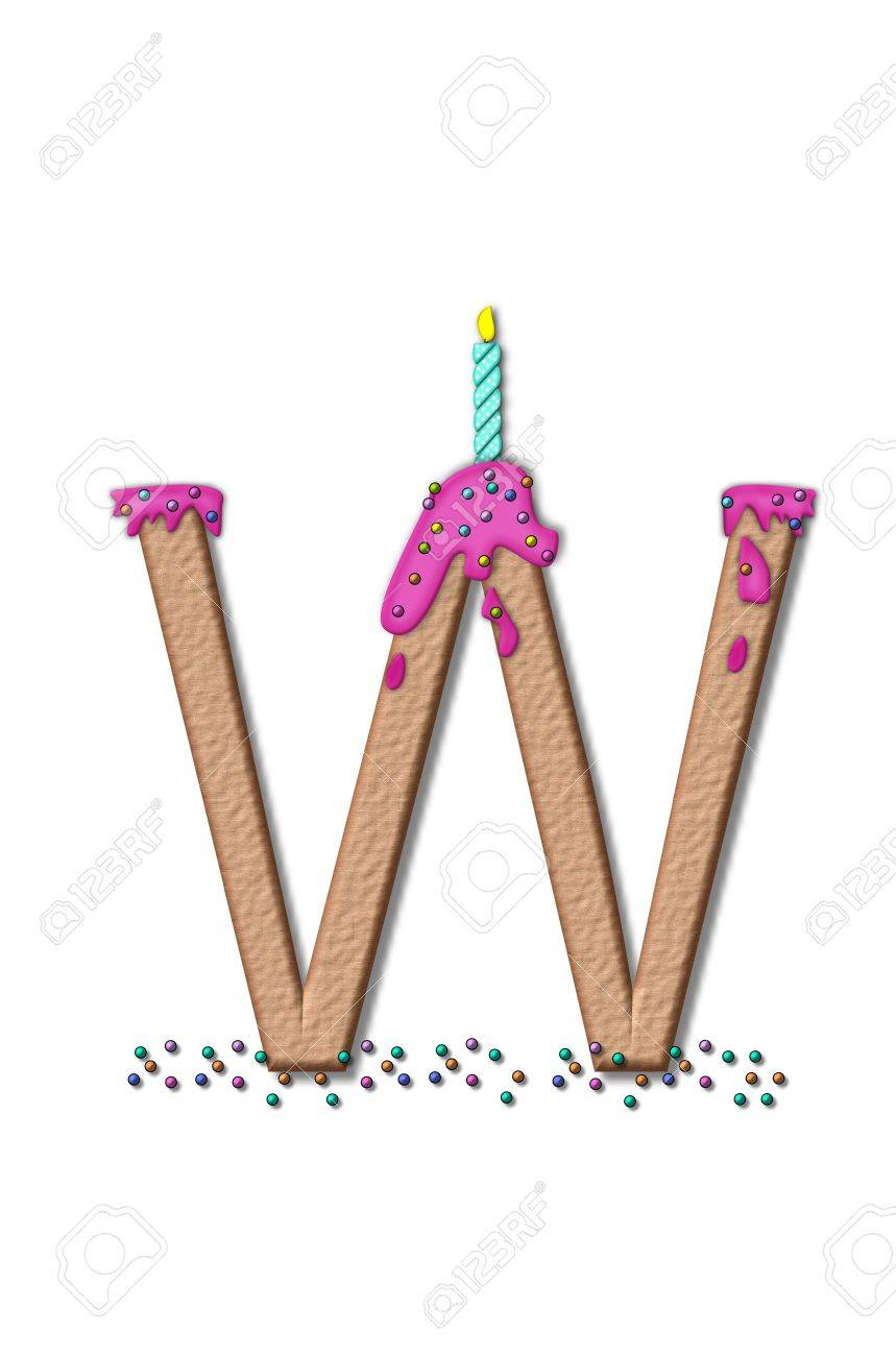 stock photo the letter w from the alphabet set happy birthday is tan with cake like textured fill letter is iced with pink frosting and sprinkled with