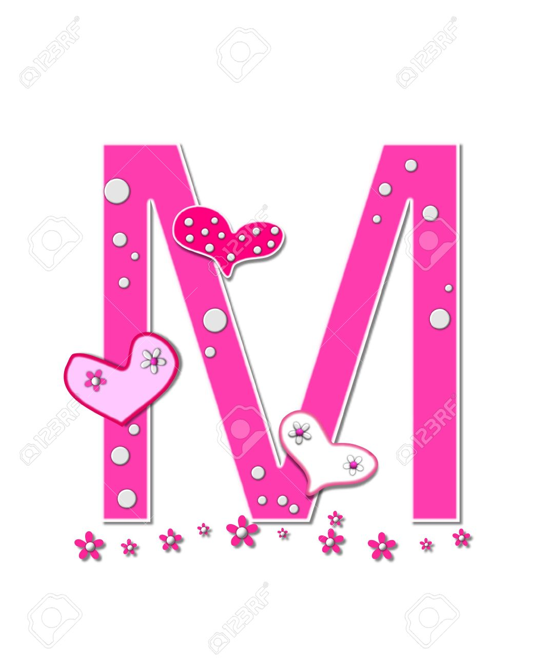 Delightful Stock Photo   The Letter M, In The Alphabet Set Heartfull, Is Pink Outlined  With White Polka Dots And Hearts Decorate Letter With A Line Of Pink  Flowers At ...
