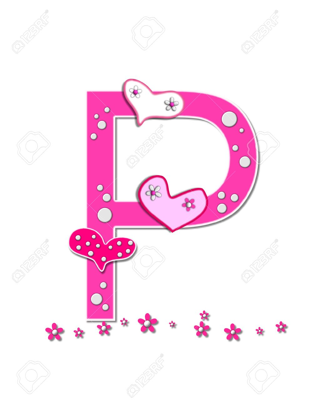 The Letter P In Alphabet Set Heartfull Is Pink Outlined