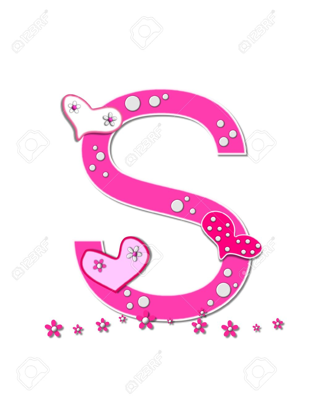 The letter s in the alphabet set heartfull is pink outlined stock photo the letter s in the alphabet set heartfull is pink outlined with white polka dots and hearts decorate letter with a line of pink flowers at mightylinksfo