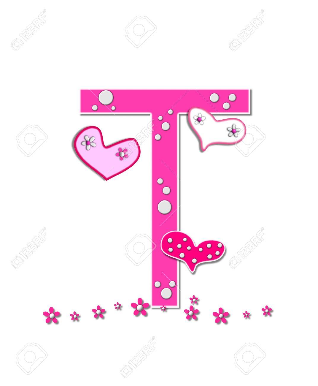 Oslikaj slova  azbuke - Page 19 16321833-The-letter-T-in-the-alphabet-set-Heartfull-is-pink-outlined--Stock-Photo