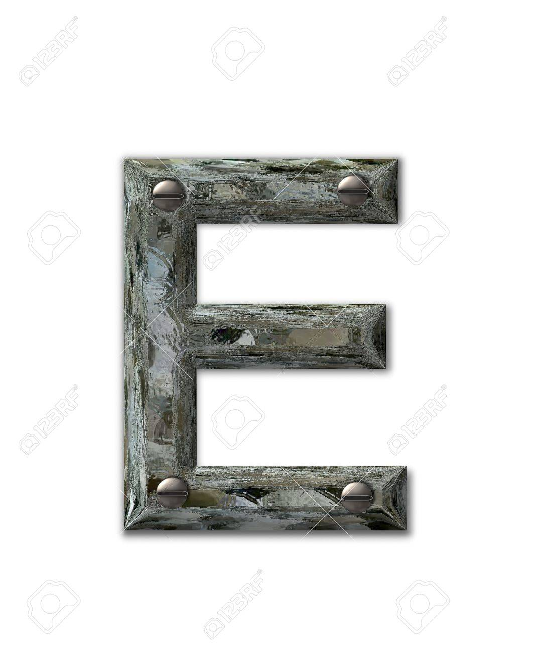 Letter E, in the alphabet set Metal Grunge, is industrial steel fastened with 3d screws.  Letter is dirty and grungy. Stock Photo - 16322433