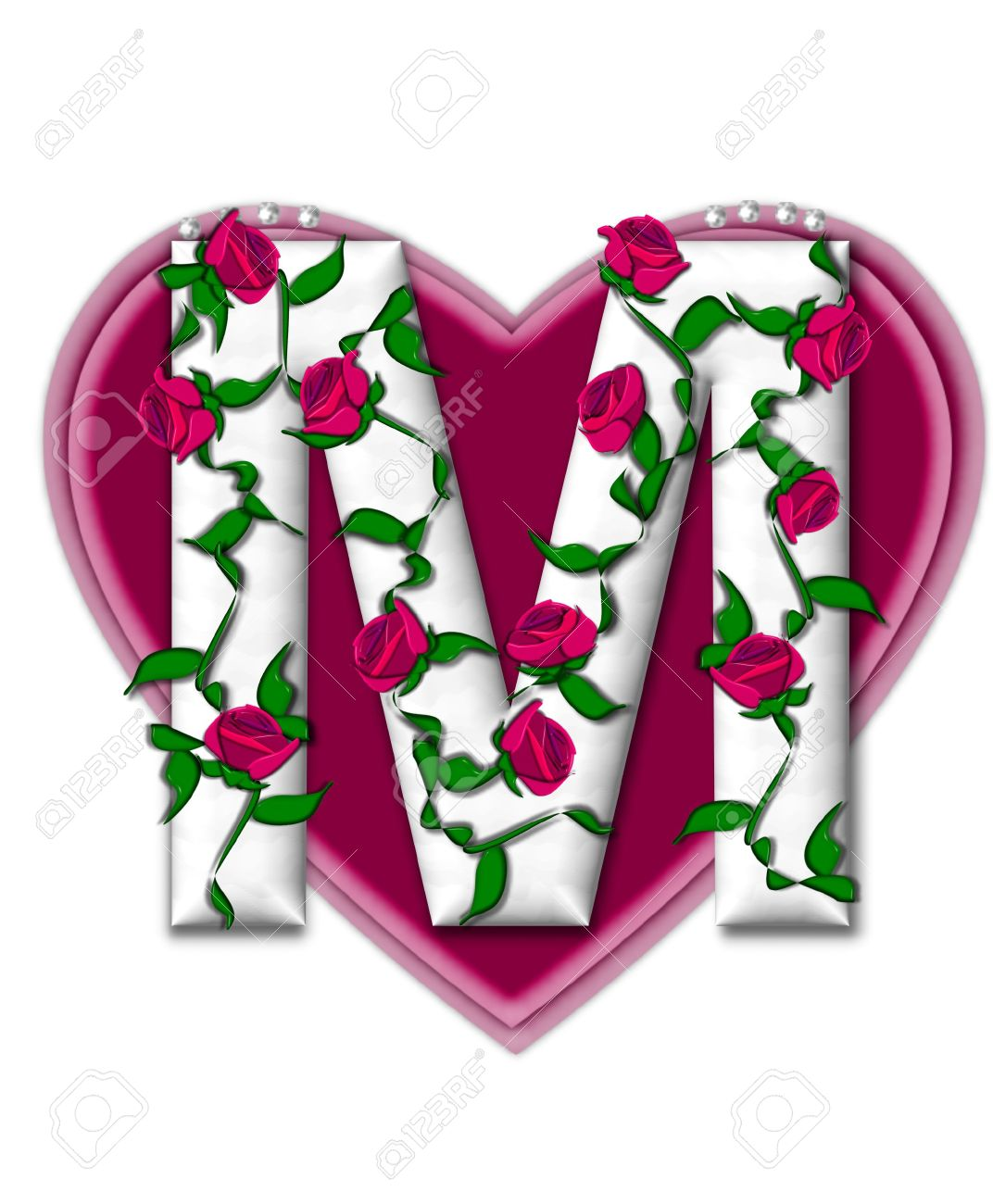 The Letter M In Alphabet Set Rosey Vine Is A White