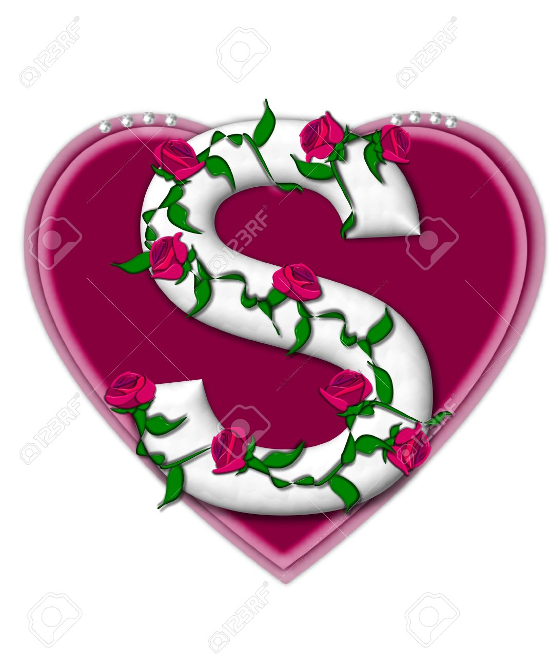 Ordinaire Stock Photo   The Letter S, In The Alphabet Set Rosey Vine, Is A White  Letter With Climbing Roses Twining Around Its Shape. It Sets On Two Large  Hearts ...