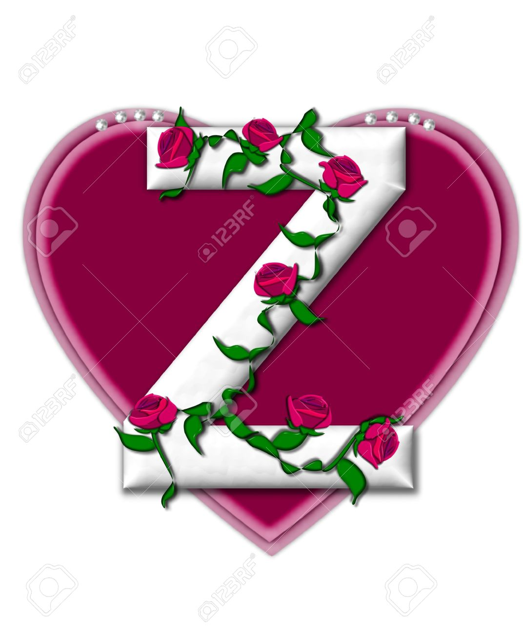 The Letter Z In The Alphabet Set Rosey Vine Is A White Letter