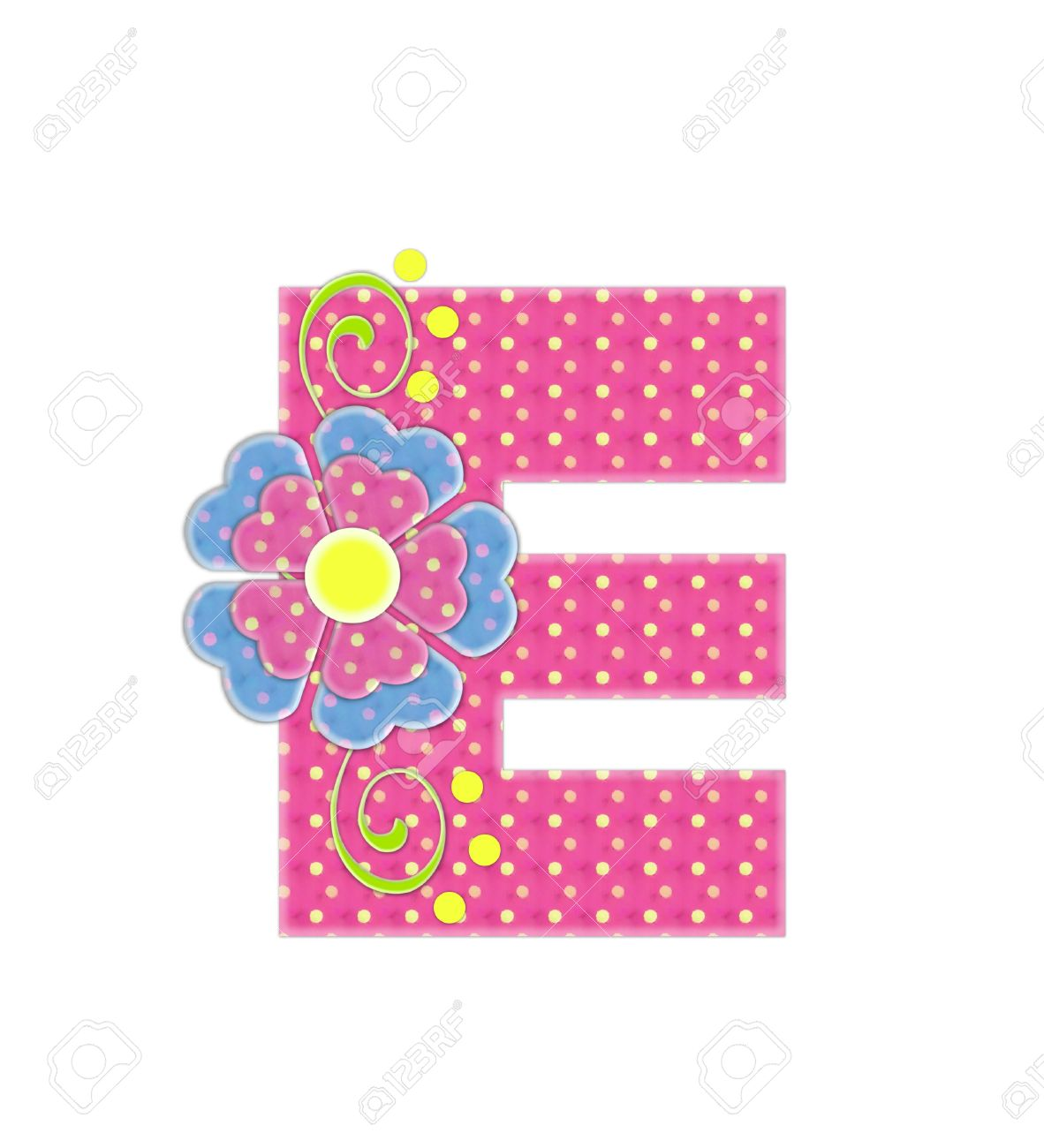 The letter Q in the alphabet set Bonita is pink with yellow polka dots