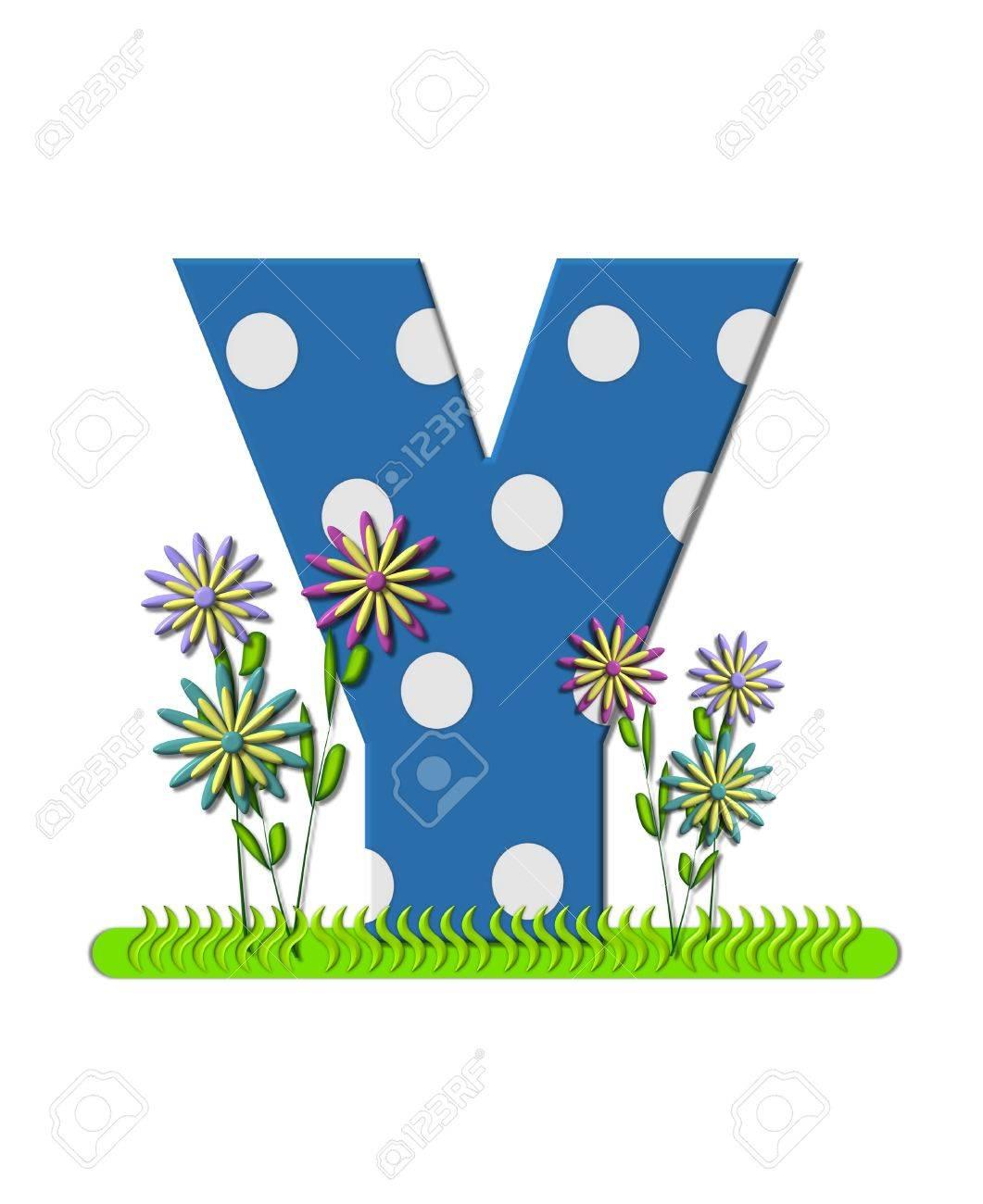 La Lettera Y, In Alfabeto Impostare prato Fiorito, è Blu Con Pois ...