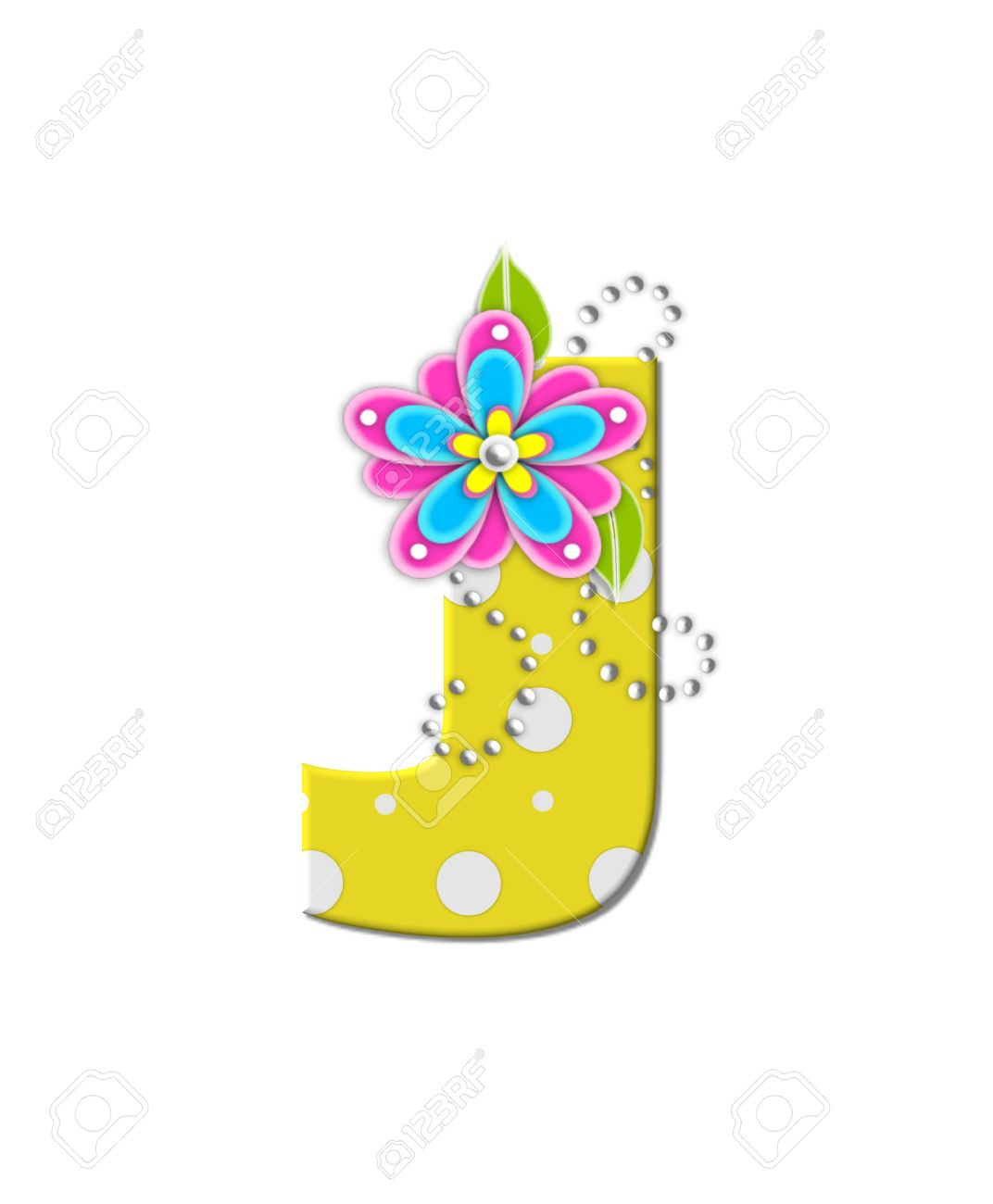 The Letter J In The Alphabet Set Bonny Blooms Is Yellow With
