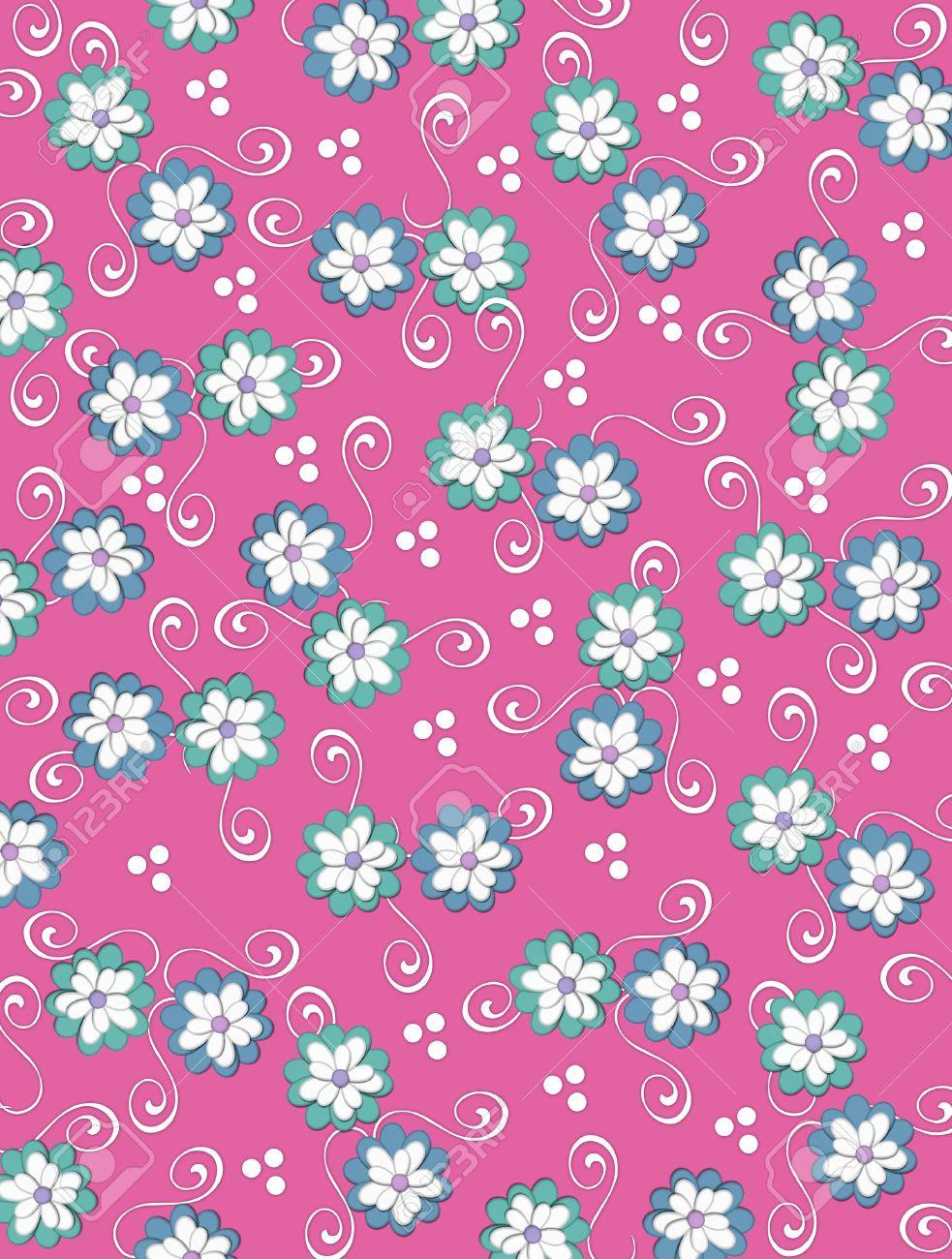 Immagini Stock Profondo Sfondo Rosa è Decorata Con Riccioli