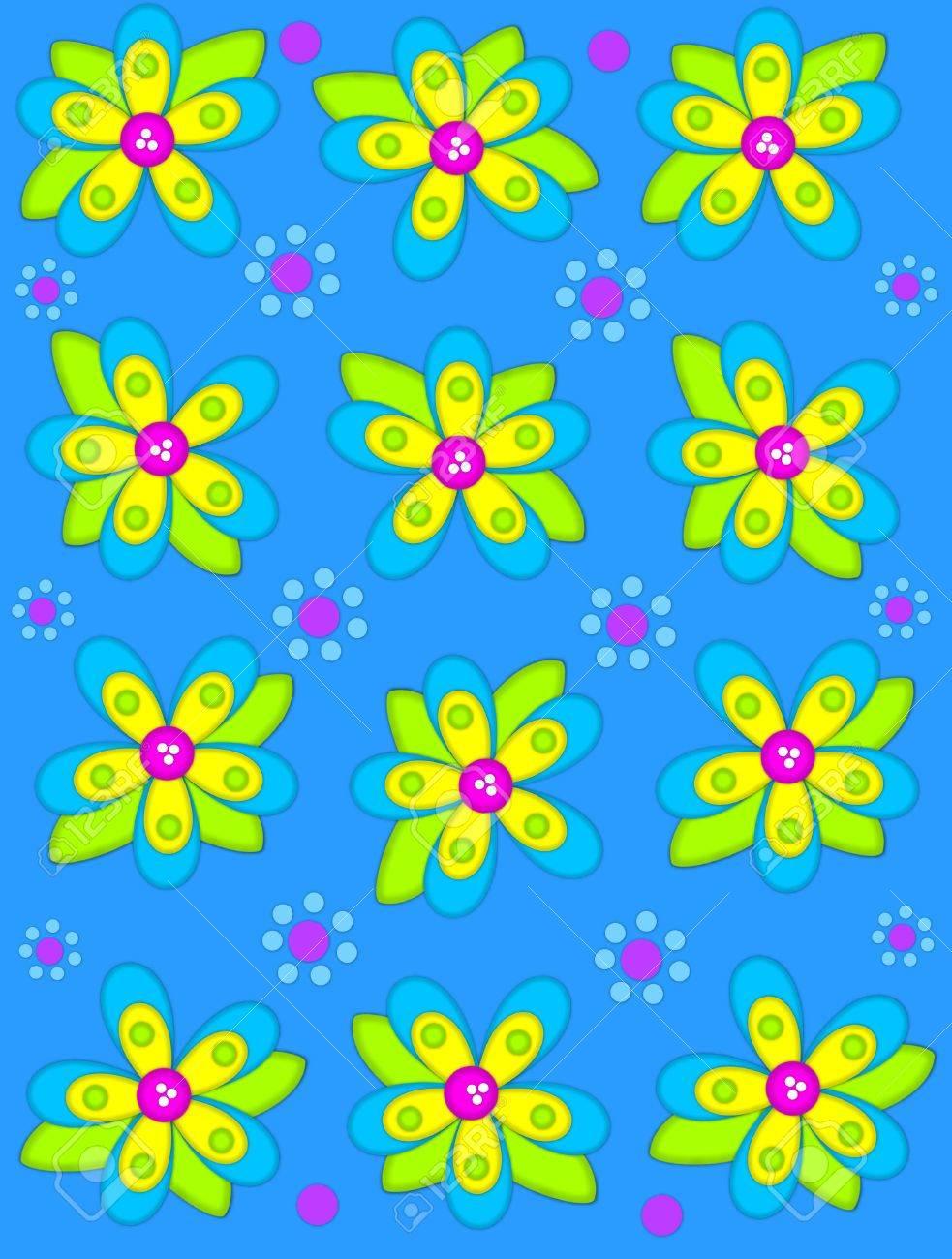 Fiori 2d.Immagini Stock Brillante Sfondo Blu E Decorato Con Grandi Fiori