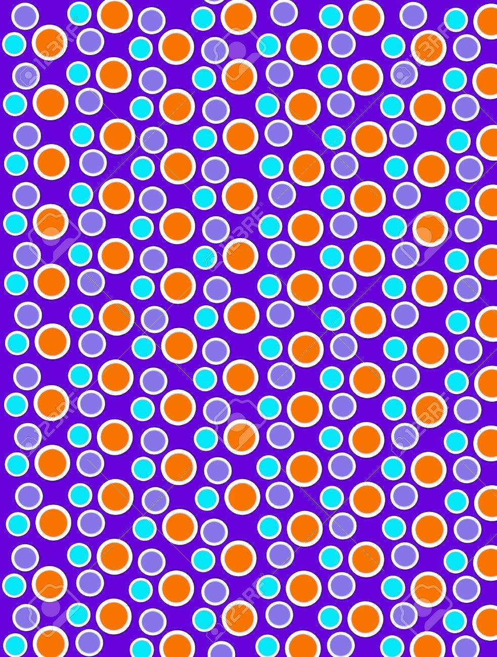 Background image is filled with two layered circles and dots.  White border encircles each polka dot.  Polka dots deep purple background. Stock Photo - 17120705