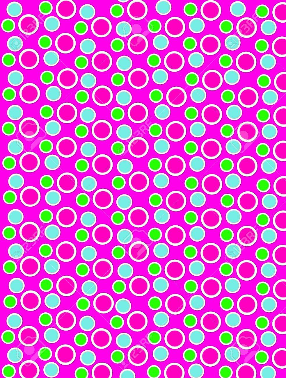 Background image is filled with two layered circles and dots.  White border encircles each polka dot.  Polka dots fill hot pink background. Stock Photo - 17126723