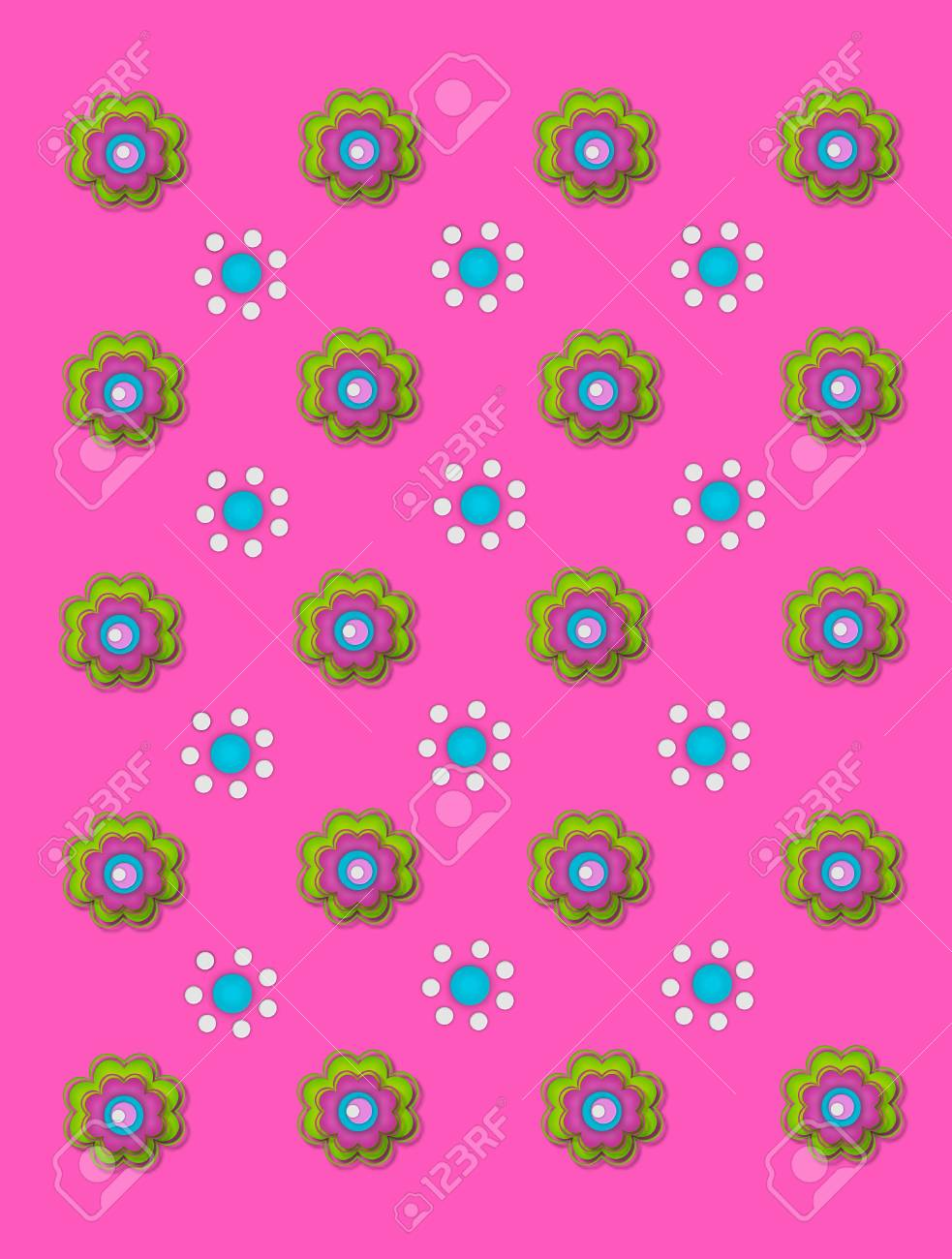 Two flower designs decorate bright pink background.  One flower is made up of green, pink and aqua layers.  The other flower is made up of white and aqua polka dots. Stock Photo - 17126512