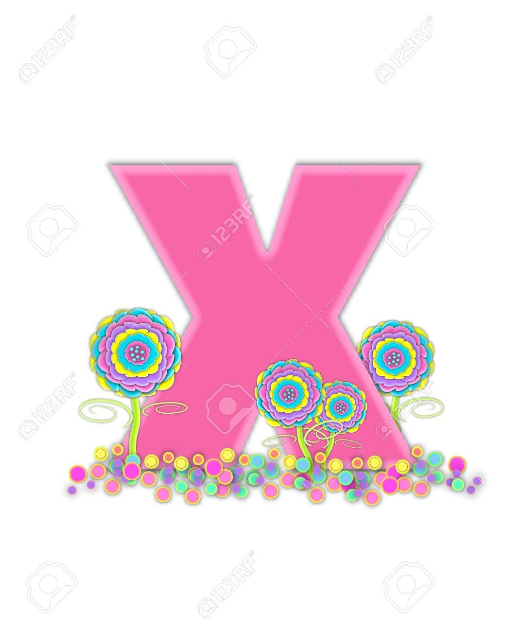 The Letter X, In The Alphabet Set, Is Soft Pink And Outlined.. Stock ...