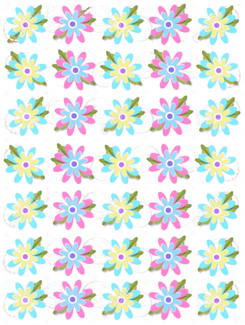 Layered daisies sit on background of curls and polka dots.  Sprigs of beads and leaves spring from flowers base. Stock Photo - 17407301