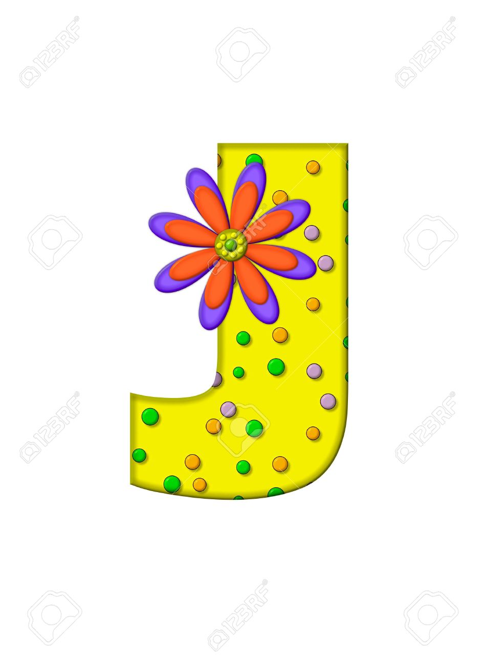 The Letter J In The Alphabet Set Zany Dots Is Yellow With