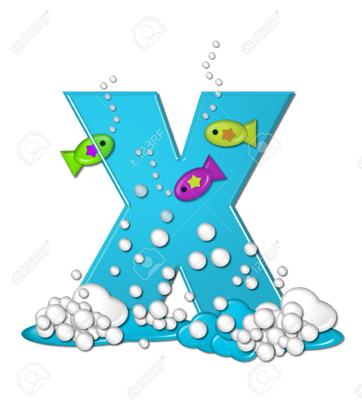 The Letter X In Alphabet Set Bubbly Fish Is Bright Aqua