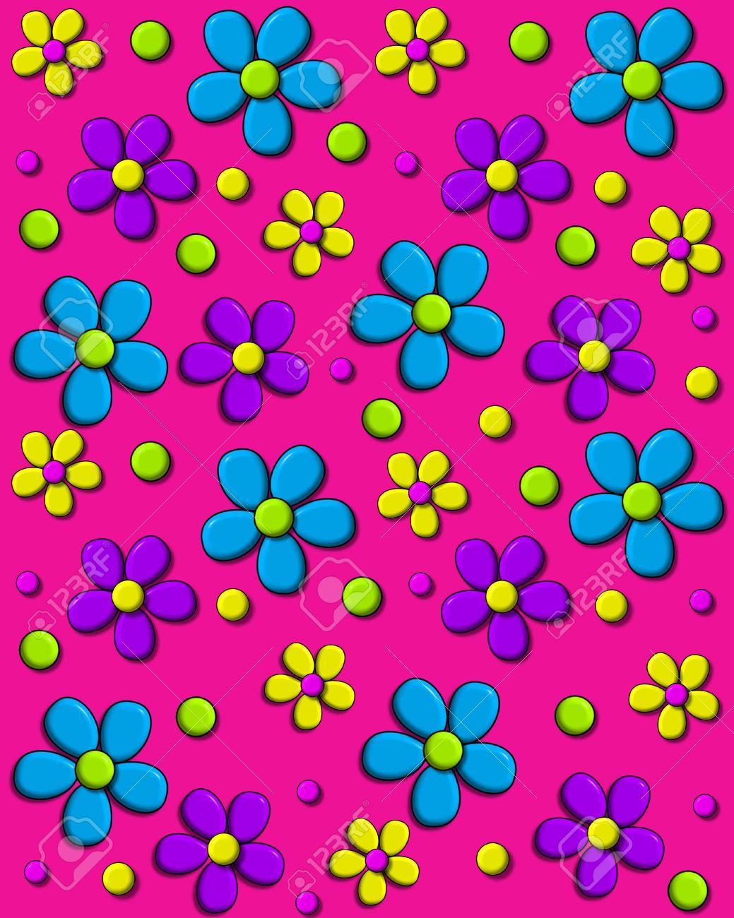 Anni 70 Colori immagine di sfondo è di colore rosa caldo e coperto in stile anni '70  margherite in acqua, viola e giallo. polka dots riempire tra i fiori.