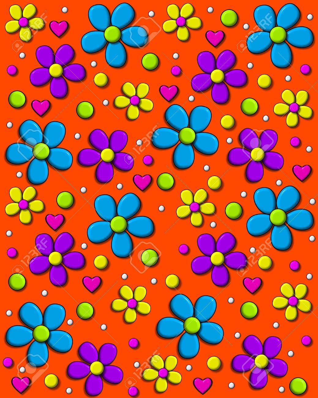 Anni 70 Colori immagine di sfondo è di colore arancione brillante e coperti di margherite  stile anni '70 in acqua, viola e giallo. pois e cuori riempire tra i fiori.