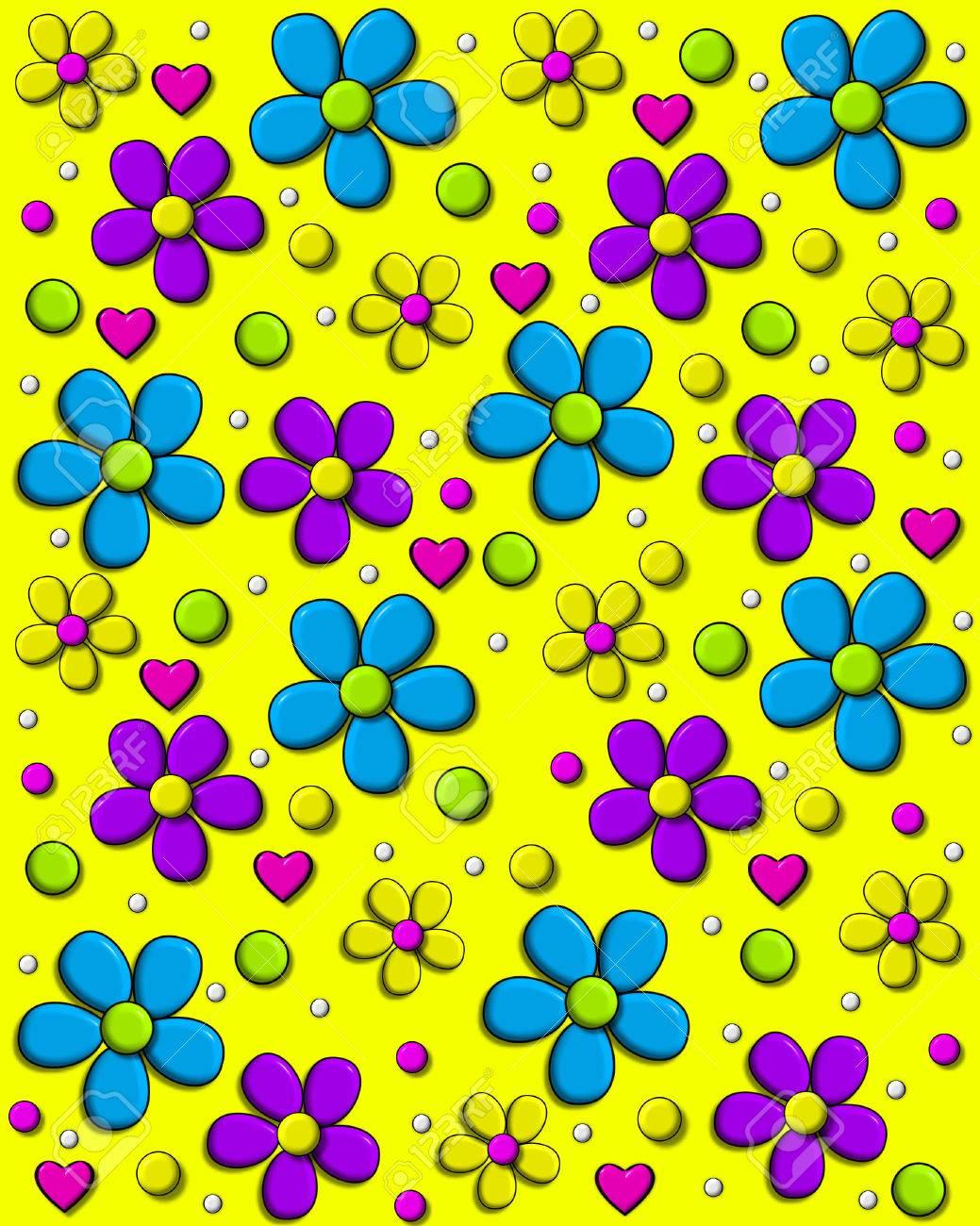 Anni 70 Colori immagine di sfondo è di colore giallo brillante e coperti in margherite  stile anni '70 in acqua, viola e giallo. pois e cuori a riempire tra i  fiori.