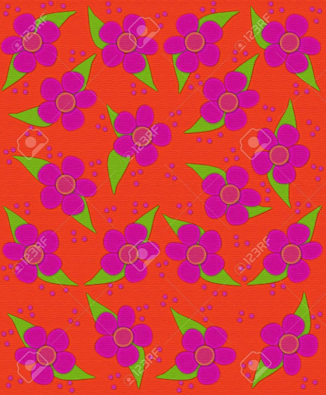 Flores De 70 Estilo De Relleno De Fondo Naranja La Imagen Tiene La Textura Y La Sensación De La Tela Las Flores Dan Unas Pinceladas De Lunares