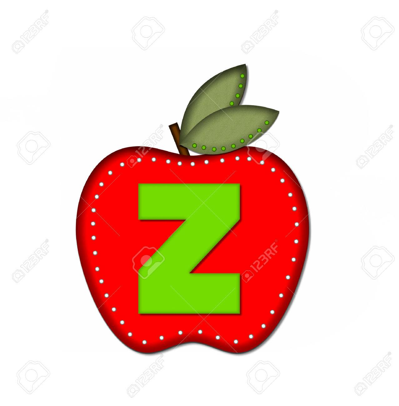 the letter z in the alphabet set delicious apple is bright