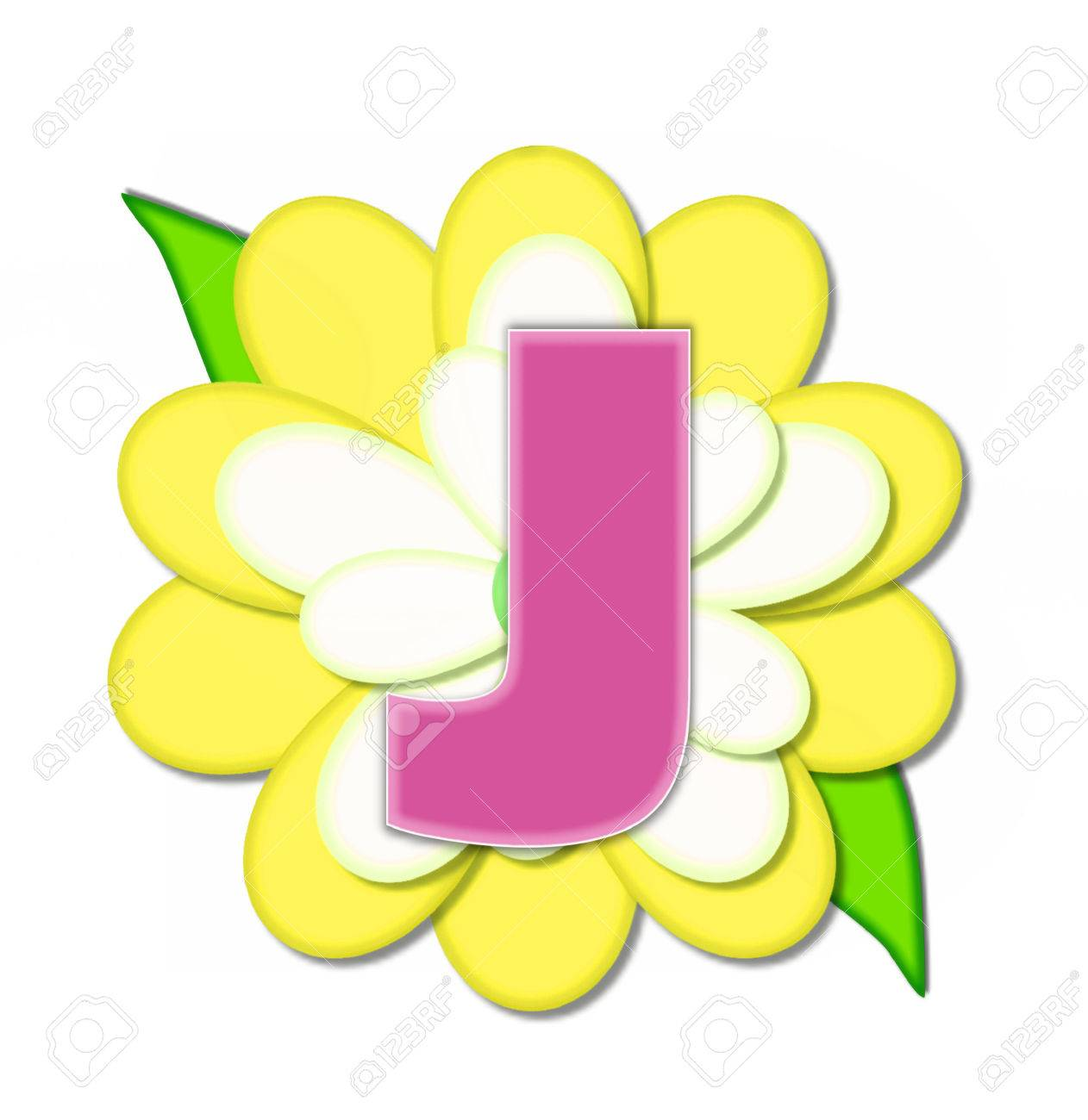 The Letter J In The Alphabet Set Flower Pin Yellow Is Pink