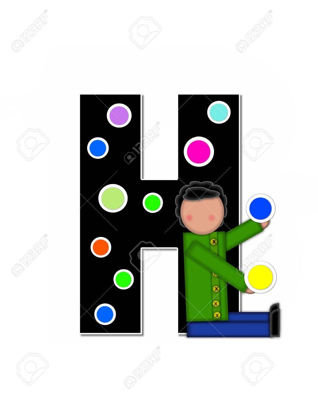 La Letra H En El Conjunto De Alfabeto De Niños Que Adornan Las Letras Es Negro Y Se Indica Con El Blanco Niño Es Colocar Los Lunares De Colores Por Toda La
