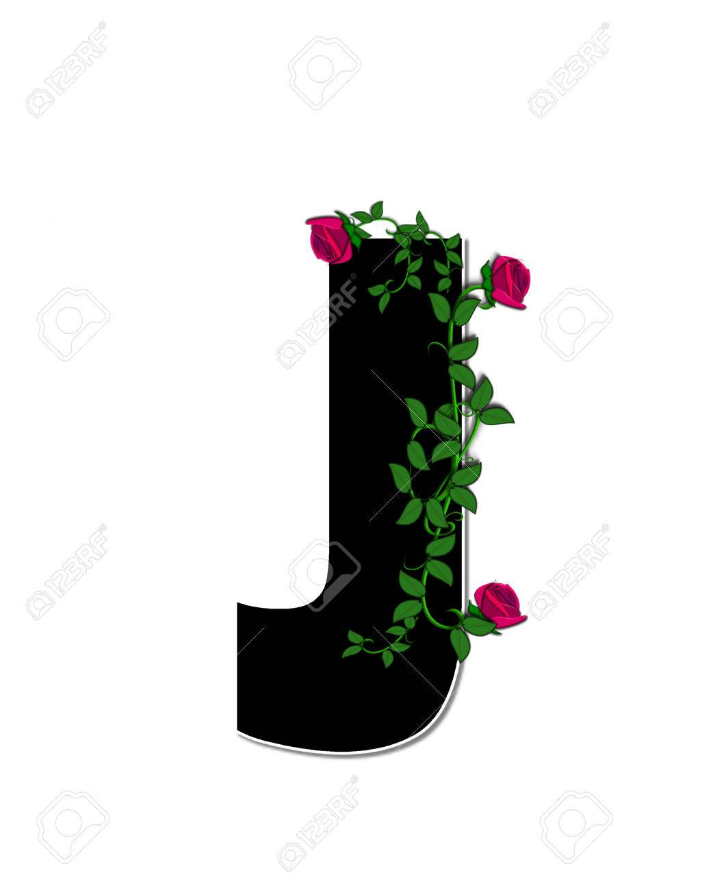 The Letter J In The Alphabet Set Rose Trellis Is Black With