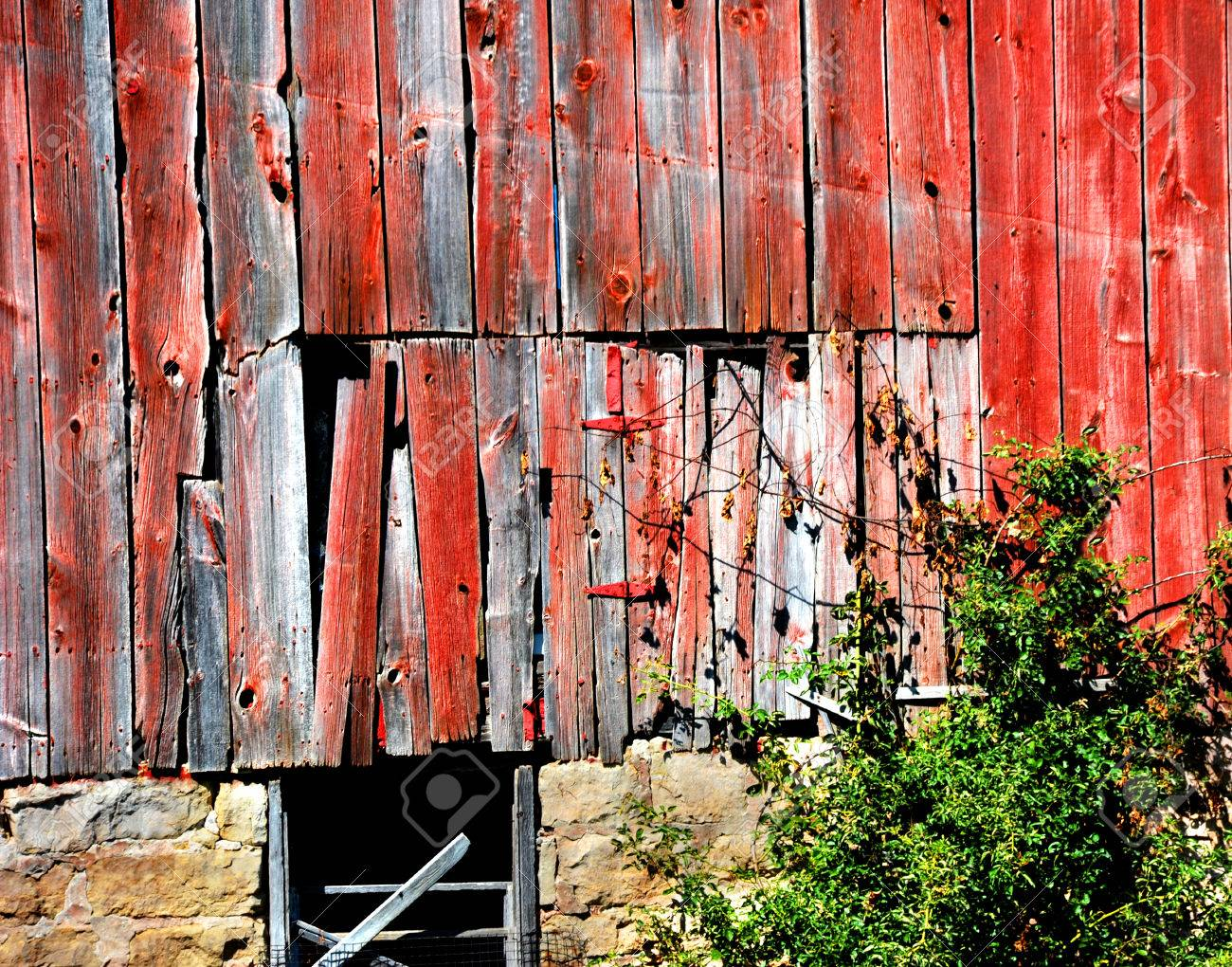 Background Image Shows Old Barn Door It Is Red Weathered Stock