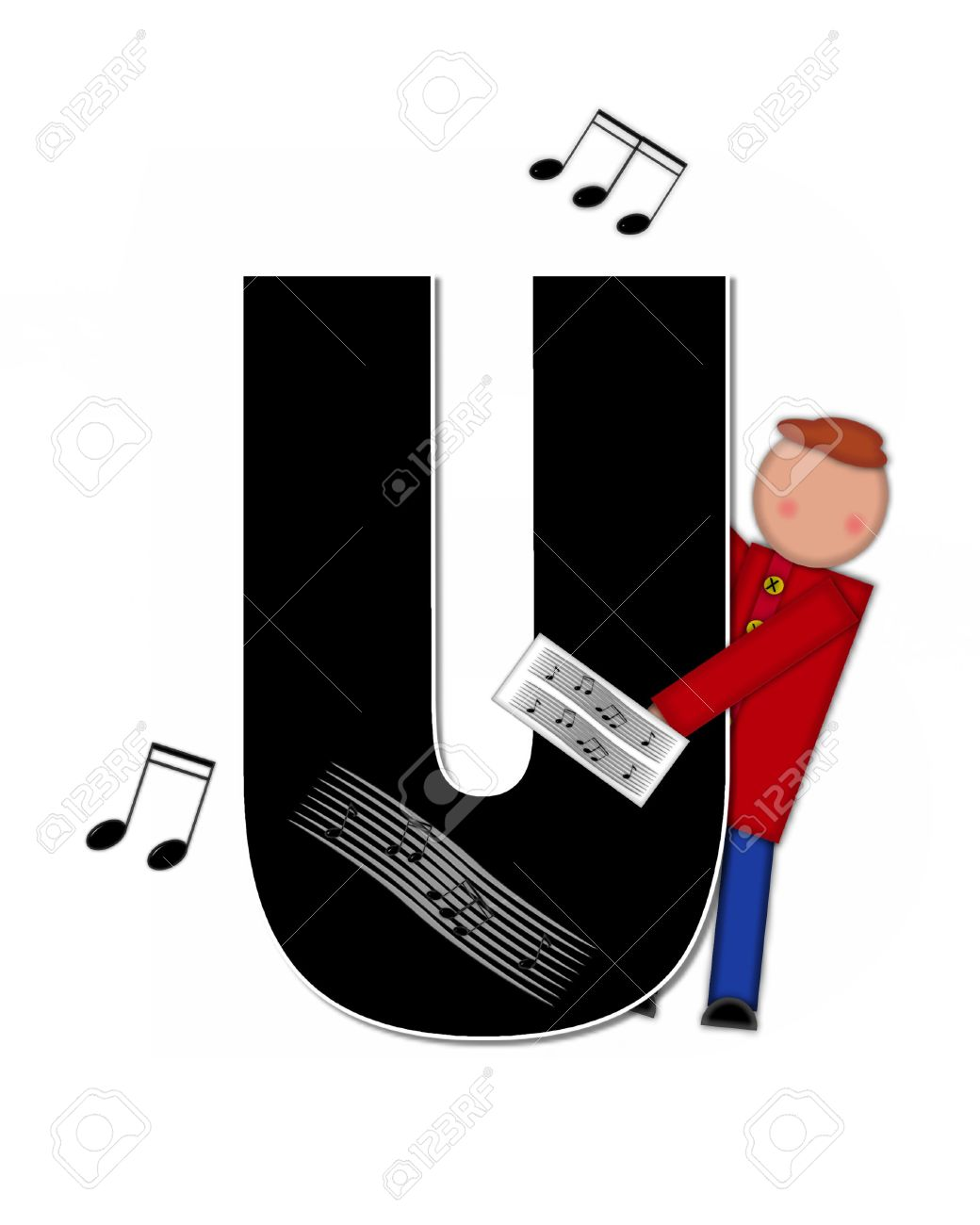 """the letter u, in the alphabet set """"children music"""" is black and"""