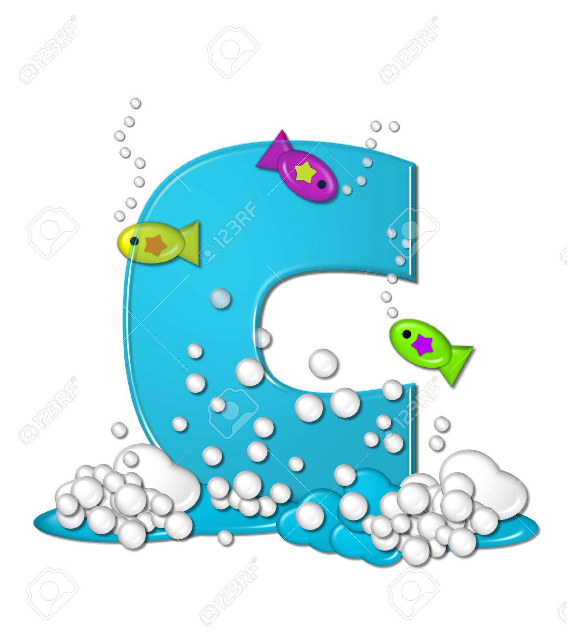 The Letter C In Alphabet Set Bubbly Fish Is Bright Aqua