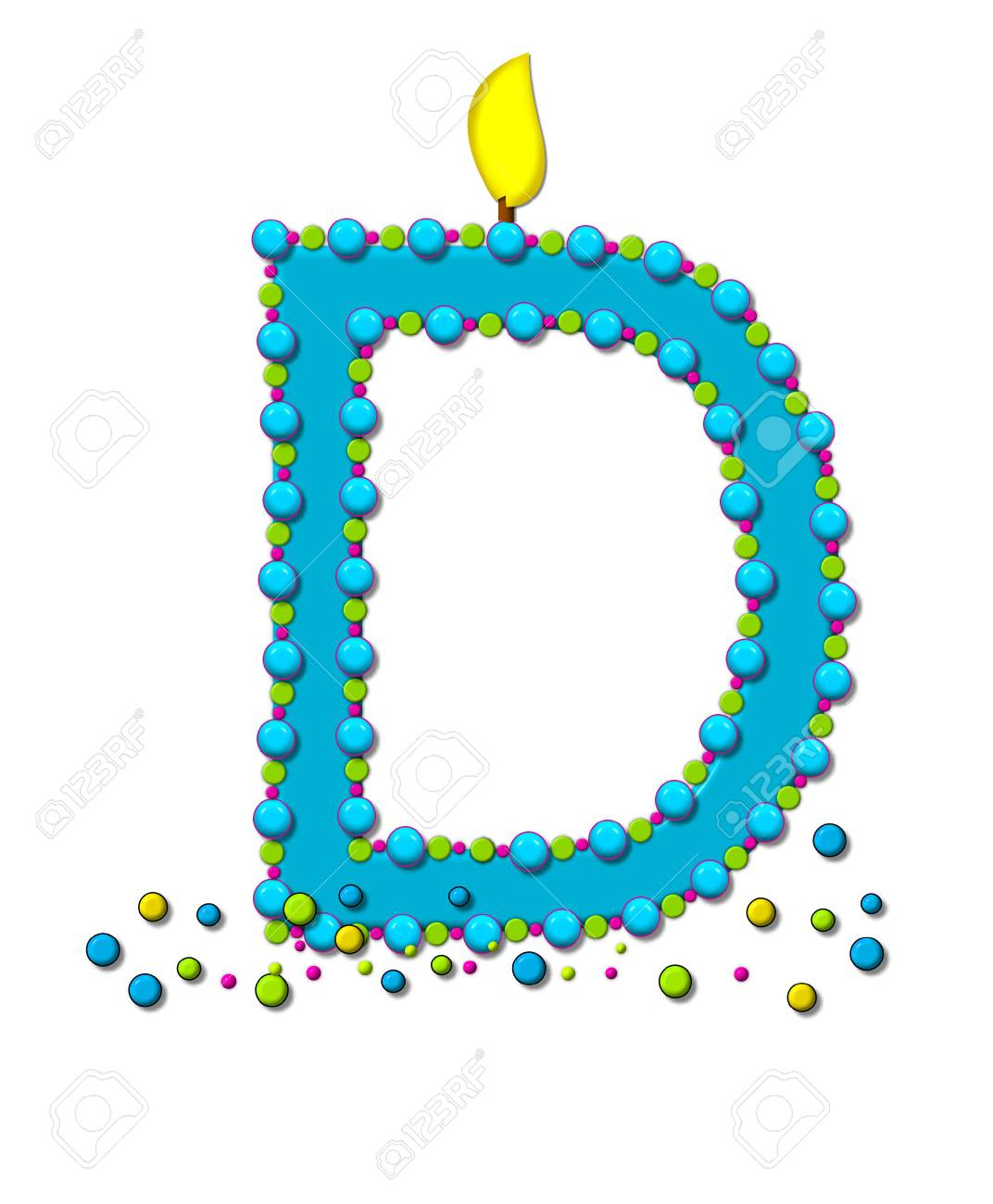 The Letter D In Alphabet Set Birthday Cake Candle Is Aqua