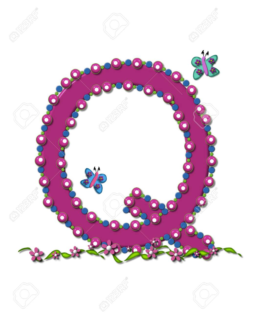 Letter Q From Bead Alphabet Is Deep Rose In Color. Letter Is.. Stock ...